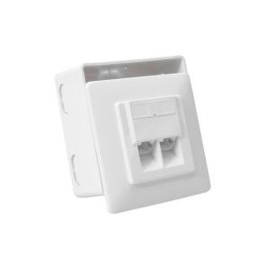 Logilink NP0039 network socket for surface mounting with 2 x RJ45 ports - signal white