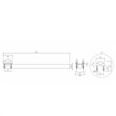 Construction drawing of the antenna holder, 60cm, straight