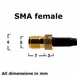 SMA female socket - side view