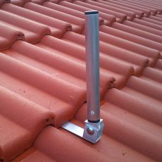 View of the mounted antenna mount on a tile roof