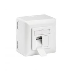 CAT.6a Ethernet surface-mounted socket / network socket - 2 x RJ45, LSA, up to 500MHz, shielded, pure white