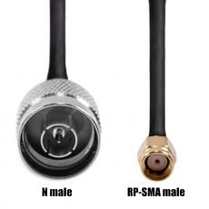 Coaxial cable RF240 with N male plug to RP-SMA male plug...
