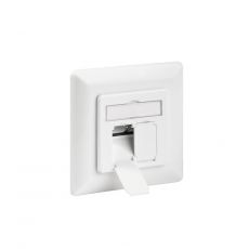 CAT.6a Flush-Mount Ethernet Socket with 2 x RJ-45, LSA, up to 500MHz, shielded, Pure White