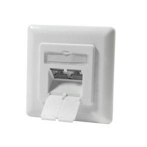 Logilink NP0023 - CAT.6 Ethernet flush-mounted network socket with 2 x RJ-45, pure white