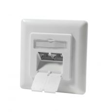 CAT.6a Ethernet Flush-mounted network socket with 2 x RJ45, LSA terminals, up to 500MHz, shielded, signal white