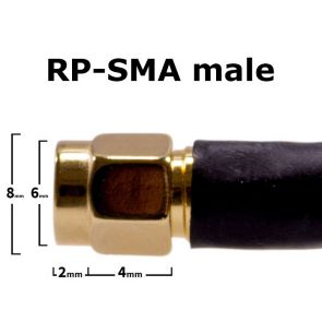 Side view of the RP-SMA connector with dimensions