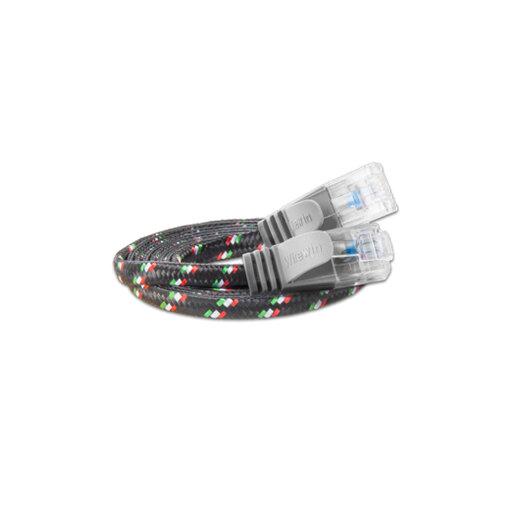 Justslim CAT.6 Netzwerkkabel / Patchkabel | TOUGH, UTP, 2 x RJ45, Nylon, Grau, 1.0m