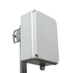 Plastic housing for pole mounting, weatherproof, 24.1 x 18 x 9.5cm