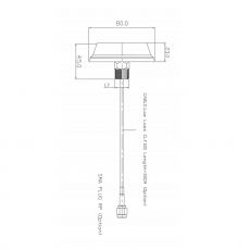 Technical drawing of the black ceiling antenna