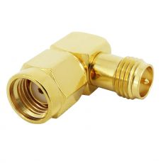 Coaxial adapter RP-SMA male to RP-SMA female with 90 ° angle