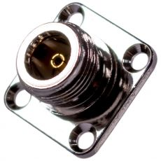 Coaxial adapter N-socket with four-hole flange