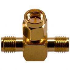 Coaxial adapter with SMA male to 2 x SMA female