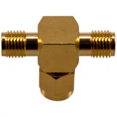 View of the underside of the coax adapter SMA male to 2 x SMA female