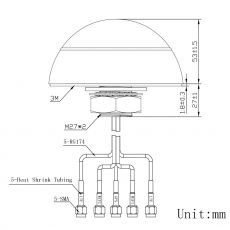 Technical drawing of the multi antenna