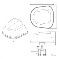 Construction drawing in 2D of the JCG605LM4 4G vehicle antenna