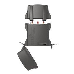 Frontsite with opened caps of MikroTik NetMetal 5SHP