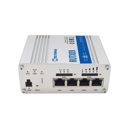 TELTONIKA RUTX09 CAT.6 4G industrial router with aluminum housing, Dual SIM and Gigabit Ethernet plugs