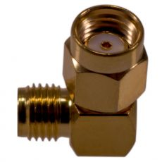 Angled coaxial adapter with RP-SMA plug to SMA socket