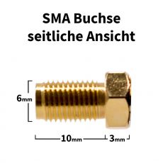 SMA socket - side view with dimensions