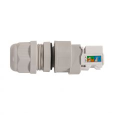 Weatherproof Ethernet cable gland with RJ45 socket and LSA terminal block