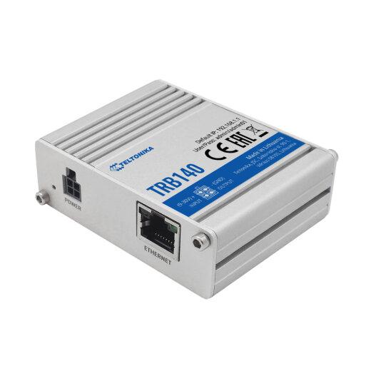 TELTONIKA TRB140 4G Gateway in aluminum housing with RJ45 Ethernet port