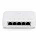 View of the 5 x Gigabit RJ45 ports (1 x PoE In, 4 x PoE Out)