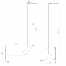 Construction drawing of the wall bracket 30cm x 60cm